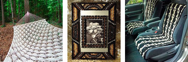 Рамочка с декором из зерен кофе, гамак и плетеные чехлы для сидений