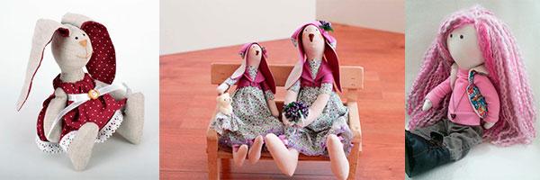 Четыре куклы-тильды