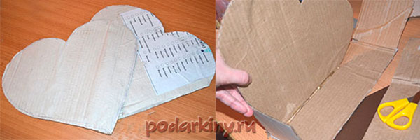 Вырезаем основу в виде сердца для пиньяты