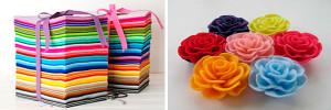 Набор фетра и цветы из ткани