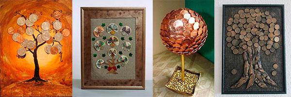 Варианты для идеи денежного дерева из монет или купюр