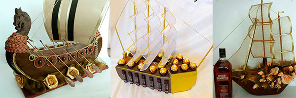 Образцы кораблей из конфет
