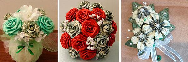 Три букета из купюр и цветов