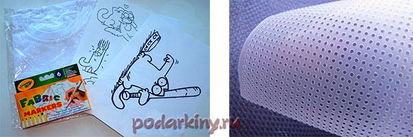 Футболка с ручной росписью и водорастворимая канва