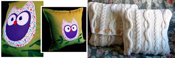Вязаные подушки  и подушка с аппликацией в виде совы