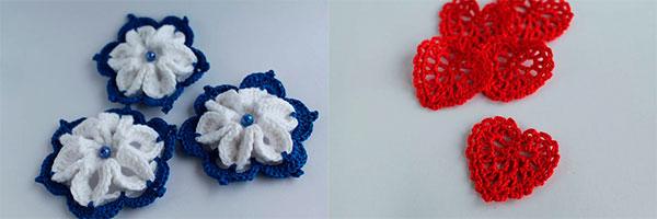 Вязаные цветы для украшения подарка