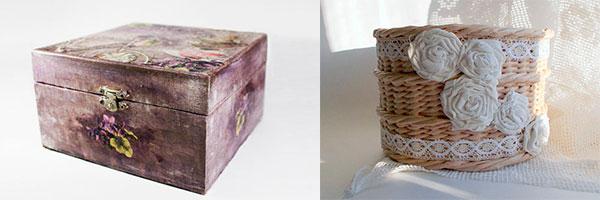 Две шкатулки в технике декупажа и плетения из газет