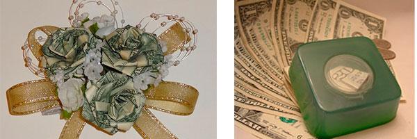 Букет из денег и купюра, вплавленная в мыло