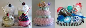 Торт из подгузников, пирожное из полотенец и подарочный набор для новорожденного
