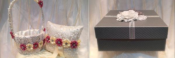 Корзинка, подушка и подарочная коробка ручной работы