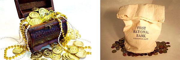 Сундук с монетами и мешок для денег