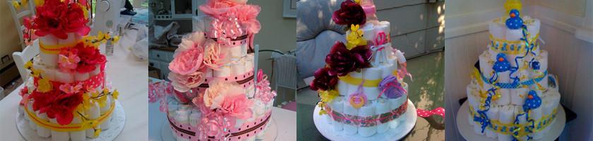 Образцы тортов из памперсов с разным декором