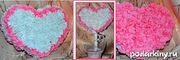 Топиарий из салфеток в форме сердца