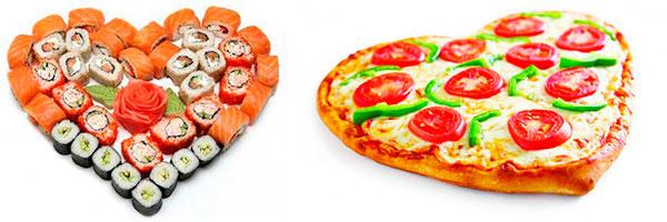 Роллы и пицца в форме сердца