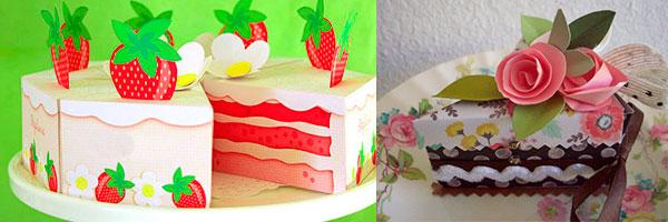 Кусочки тортика пожеланий из бумаги