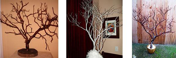 Дерево пожеланий из веток на свадьбу