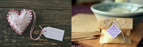 Чайные пакетики в виде сердца и квадратика