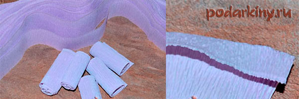 Изготовление розочки из гофрированной бумаги