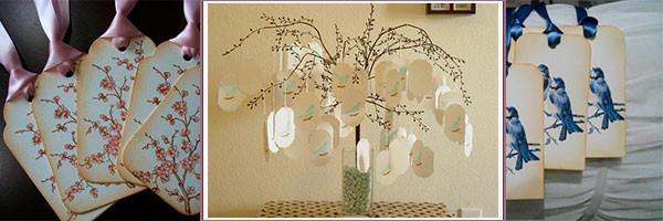 Свадебное дерево пожеланий и бирки к нему