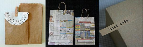 Самодельные бумажные пакеты из крфтбумаги и газет