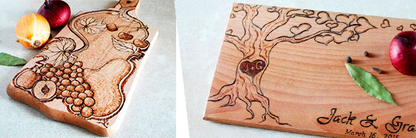 Две разделочные доски с рисунком выжиганием