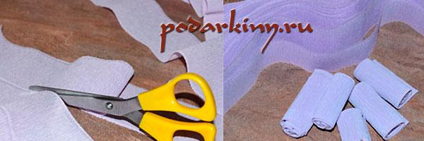 Разрезаем гофрированную бумагу на полосы