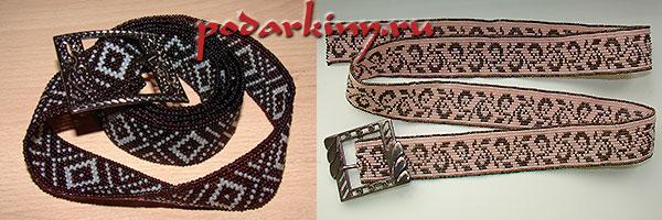 Плетение пояса из бисера с геометрическим и растительным орнаментом