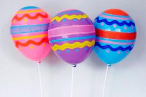 Воздушные шарики, раскрашенные гуашью
