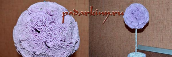 Цветочный шар из роз из гофрированной бумаги