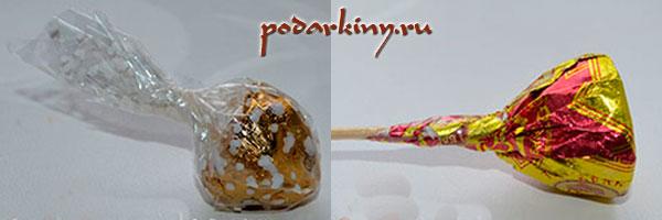 Закрепляем конфету на шпажке