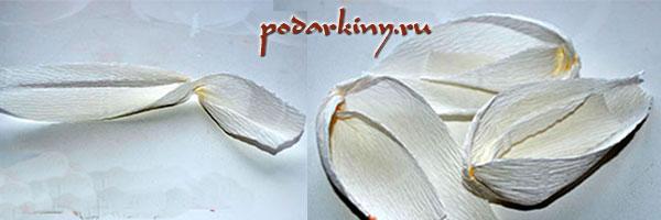 Делаем лепестки для тюльпана из конфет