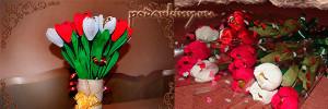 Тюльпаны из конфет в букете
