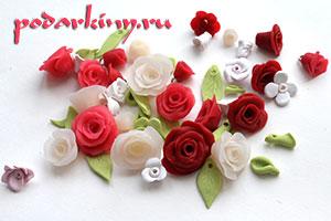 Цветы и листочки из полимерной глины для ободка