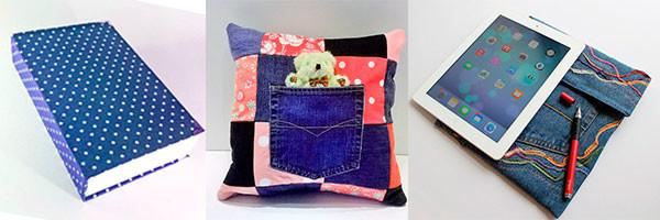 Идеи подарков из ткани: обложка для книги, чехол для планшета и подушка