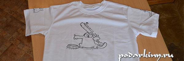 Лицевая сторона футболки с котом Саймона