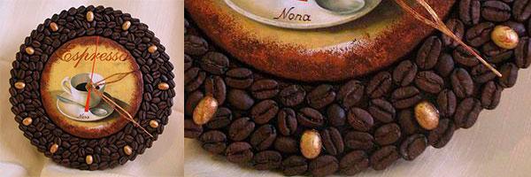 Часы с декупажем, декорированные зернами кофе
