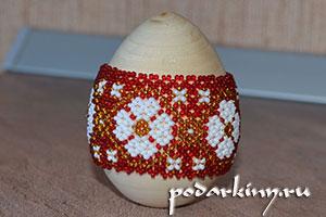 Поясок из бисера на деревянной заготовке яйца