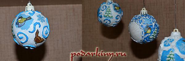 Елочные шарики, украшенные декупажем и различным декором