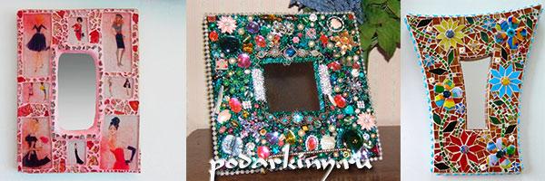 Декор зеркала с помощью мозаики и страз