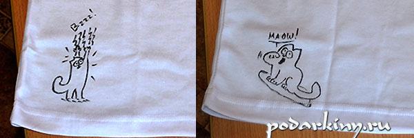 Декор футболки рисунками с котом Саймона