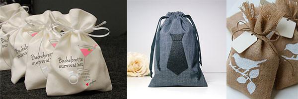 Мешочки для подарка, украшенные штампами