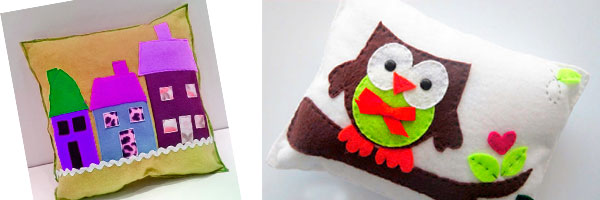 Подушки с аппликациями из ткани
