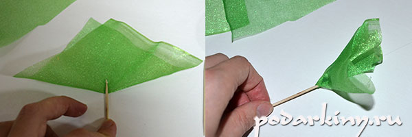 Сборка фунтика из зеленой органзы для наполнения букета