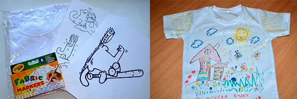 Декор футболки маркерами по ткани