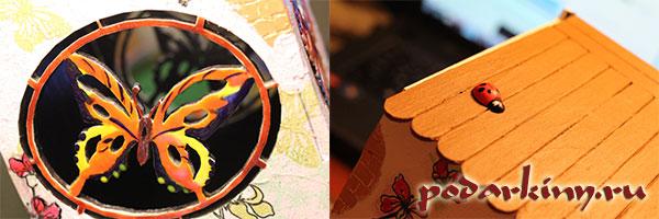 Роспись бабочек в чайном домике и приклеивание объемных фигурок