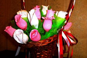 Корзина с розами из конфет