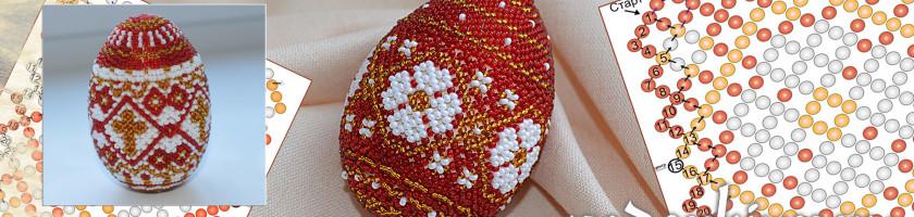 Пасхальные яйца из бисера с цветочным рисунком