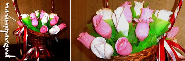 Корзина с цветами конфет - пошаговый мастер-класс