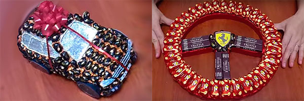 Машинка и руль из конфет