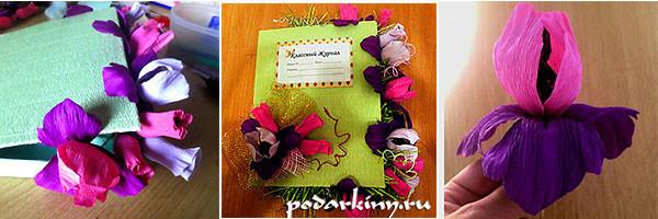Классный журнал с цветами из конфет - мастер-класс по изготовлению
